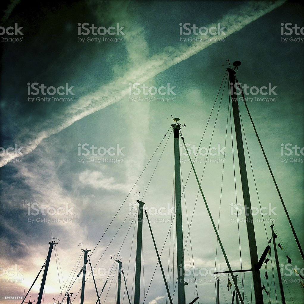 Yacht masts abstract stock photo