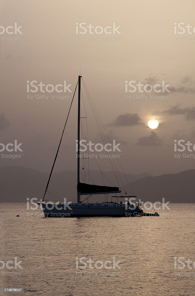 Yacht Moored at Sunset stock photo