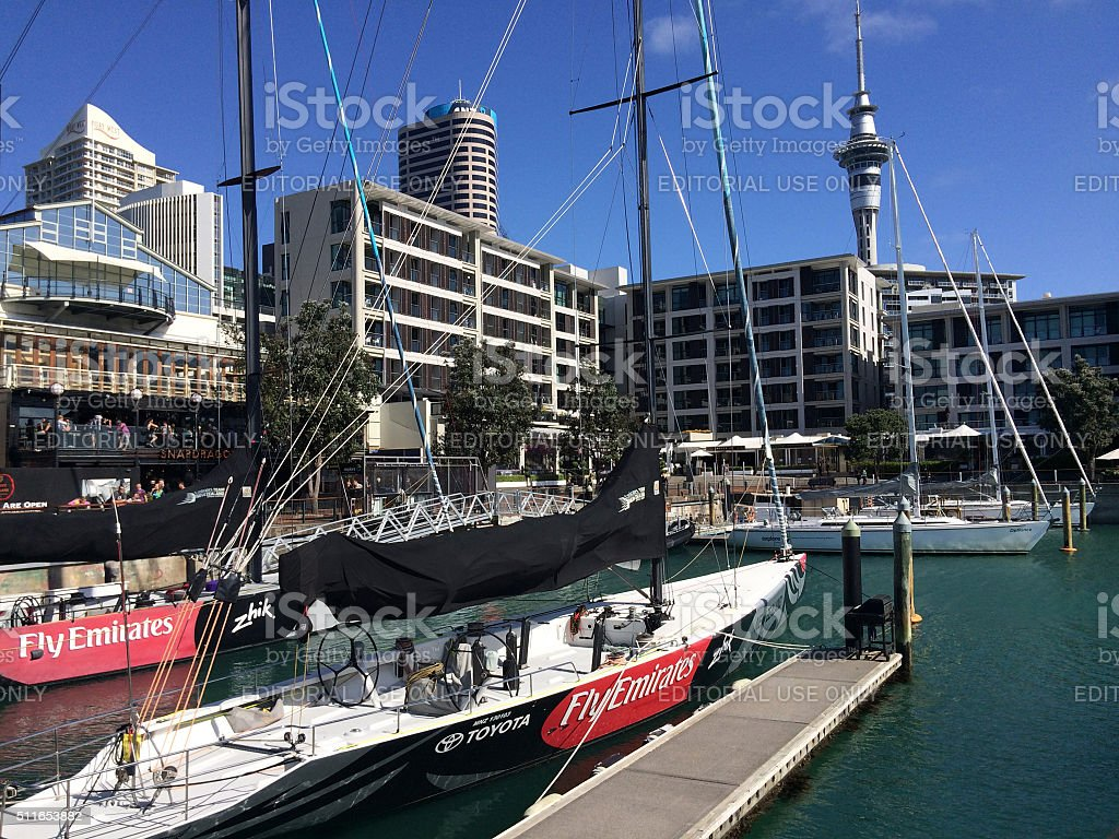 Yacht mooring in Auckland waterfront New Zealand stock photo