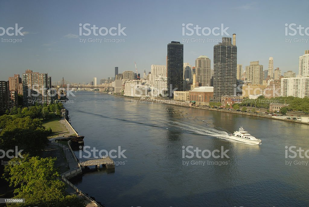 Yacht Motors By Manhattan And Queens In The East River royalty-free stock photo