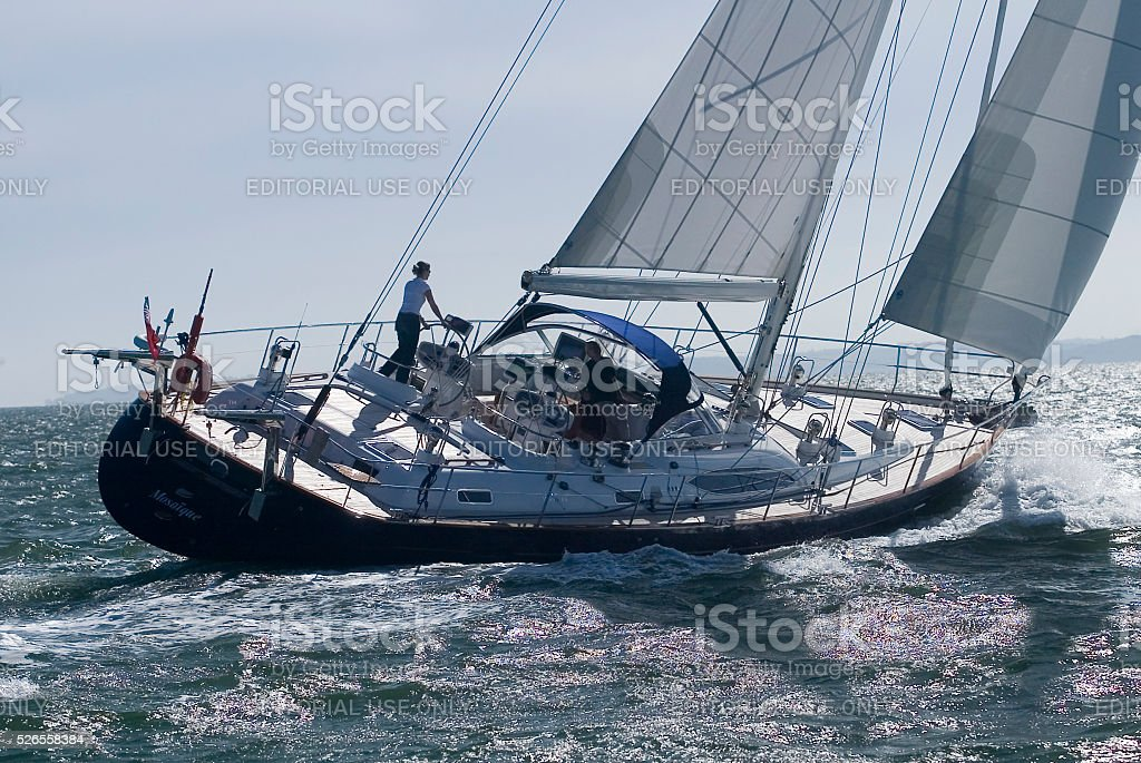 Yacht MV Moody Sailing On The Solent stock photo