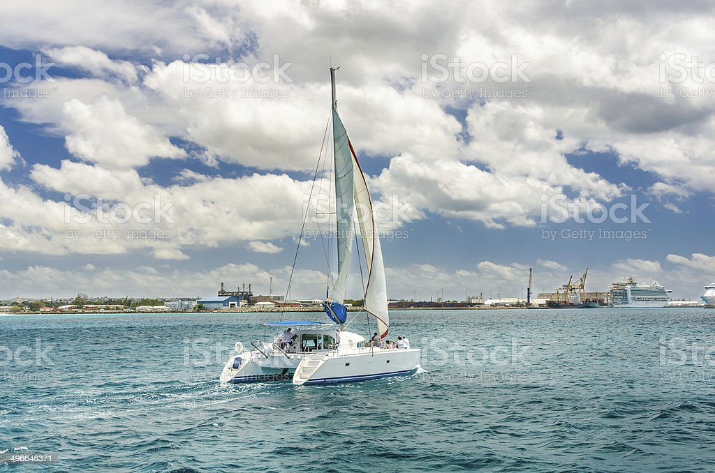 Yacht off the Coast of Barbados stock photo