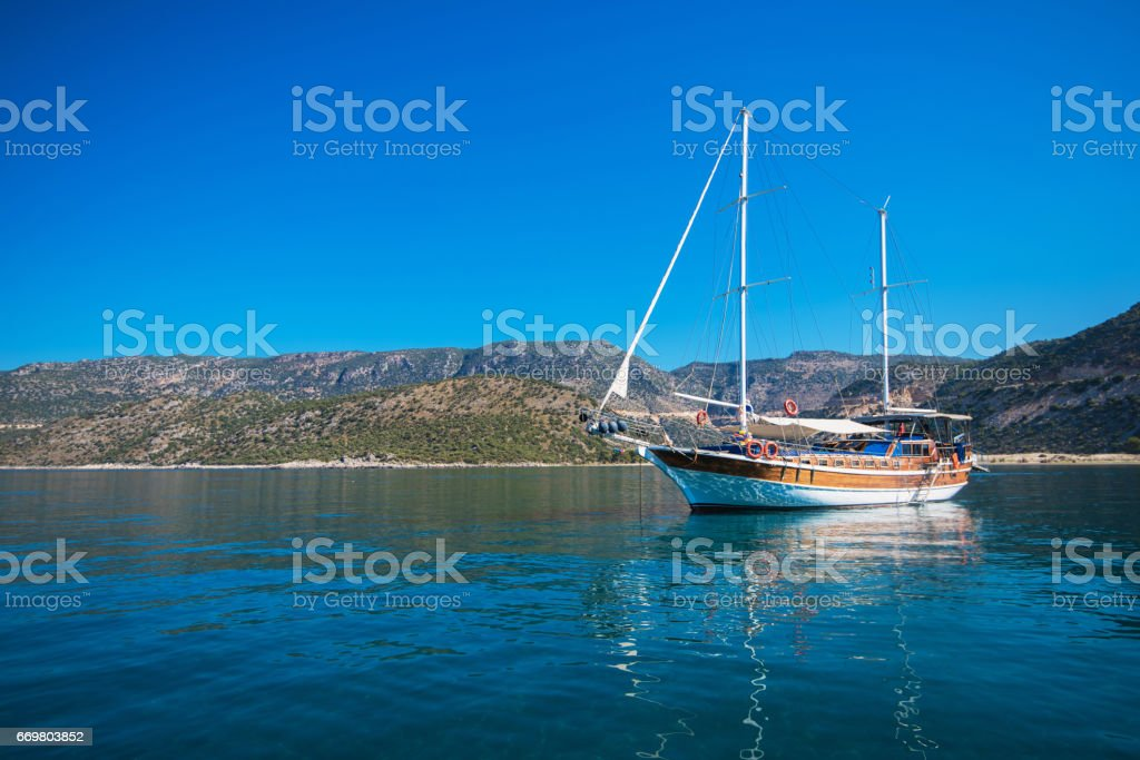 yacht on bay stock photo