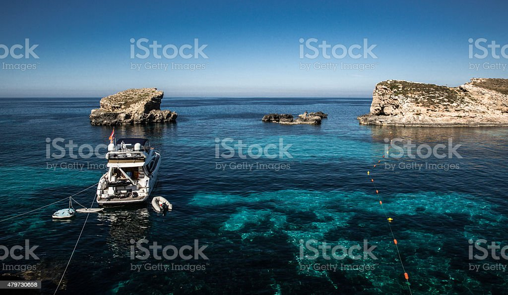 yacht on Blue Lagoon, Malta stock photo