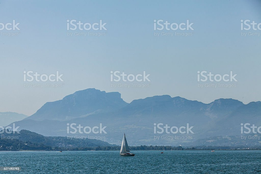 yacht on lake bourget, France. stock photo