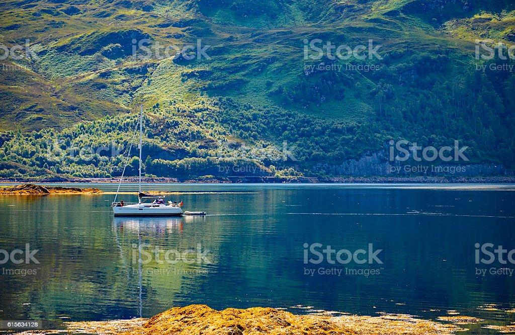Yacht On Loch Carron stock photo