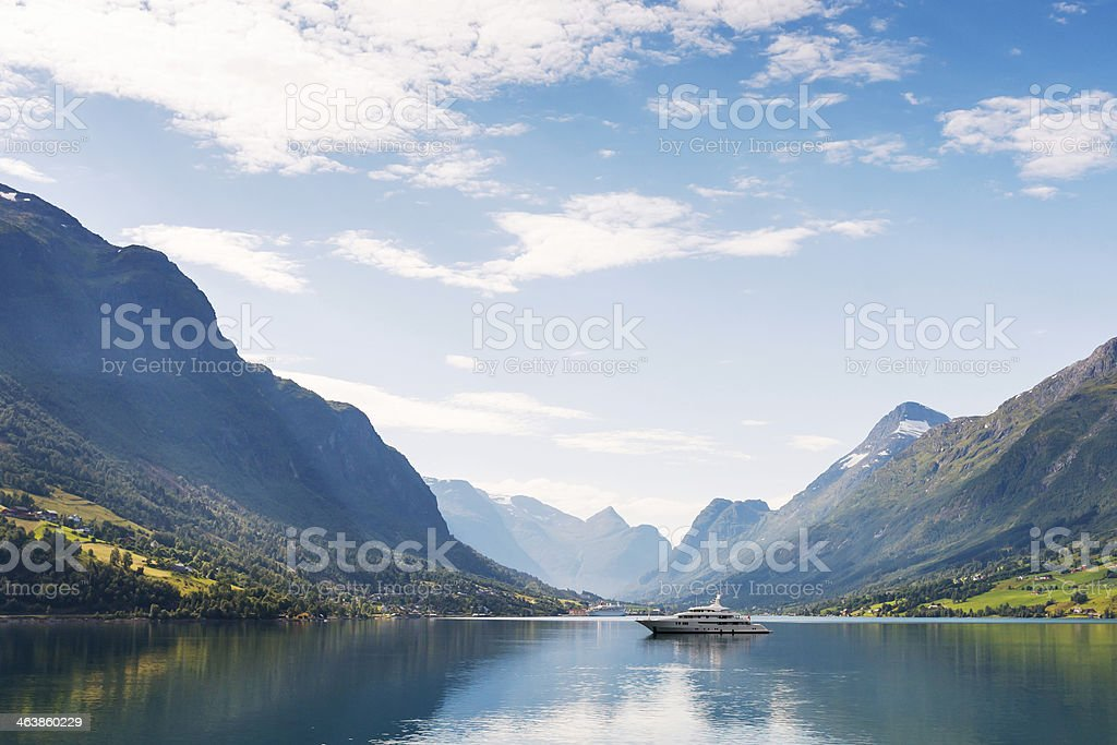 Yacht on Nordfjord stock photo