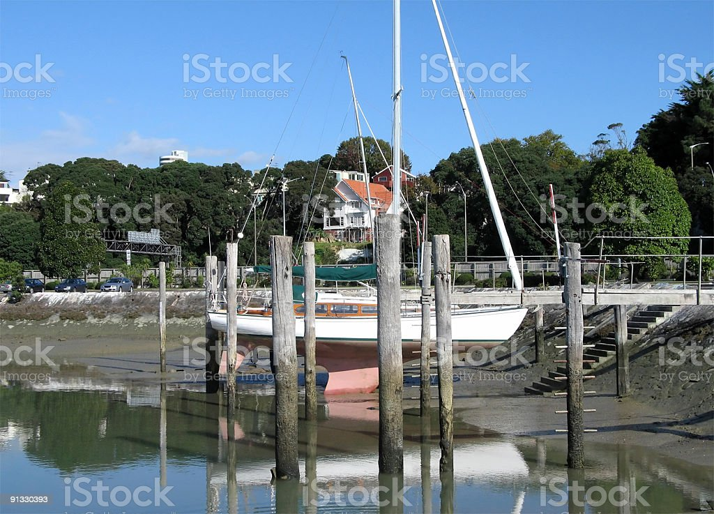 Yacht on the hard stock photo