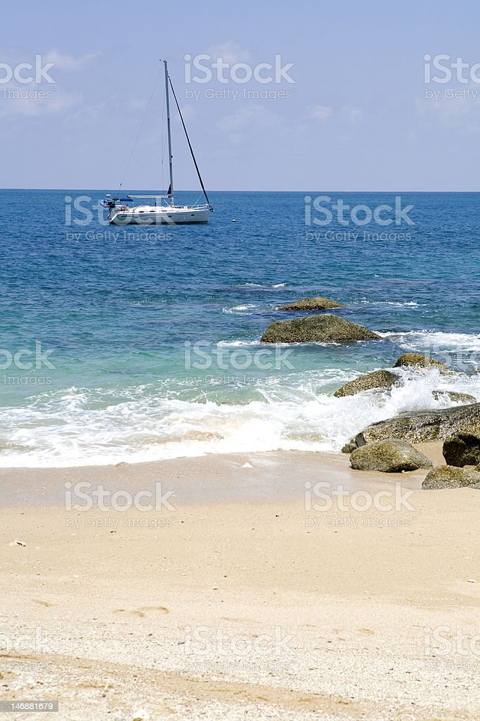 Yacht on the ocean royalty-free stock photo
