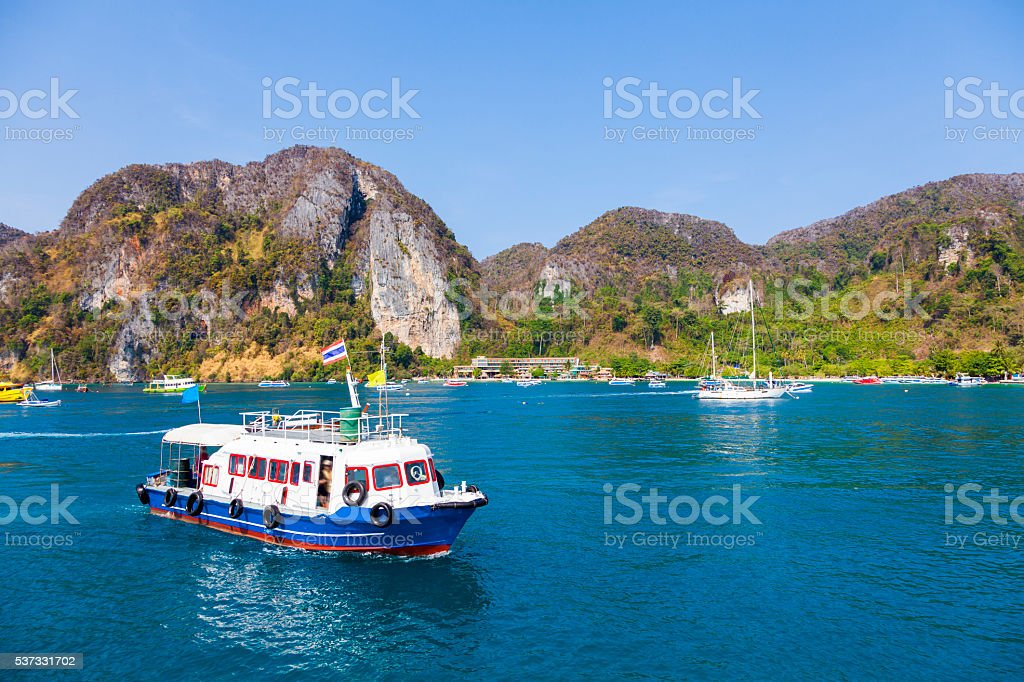 Yacht parking in sea for traveling stock photo