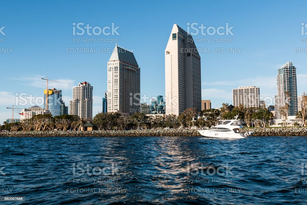 A Yacht Passes by the Downtown San Diego Skyline stock photo