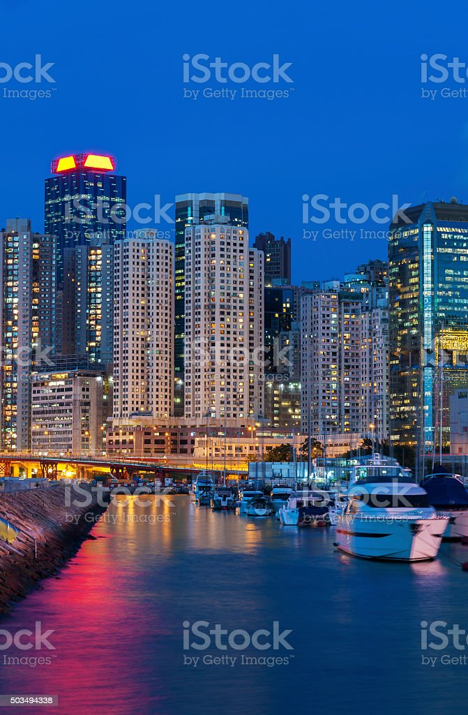 yacht port in Hong Kong Harbor stock photo