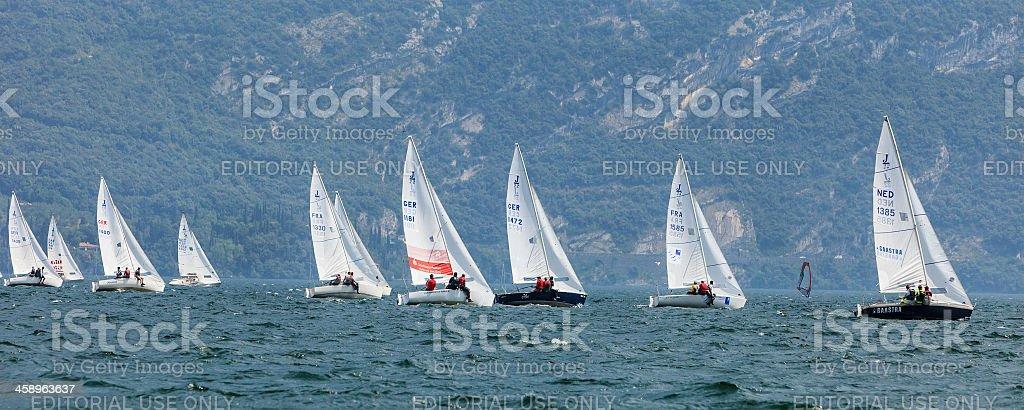 Yacht Race On Lake Garda stock photo