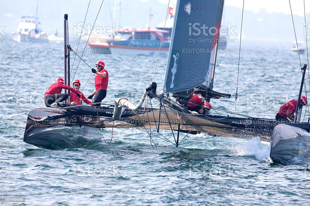 Yacht Racing Crew Hard at Work stock photo