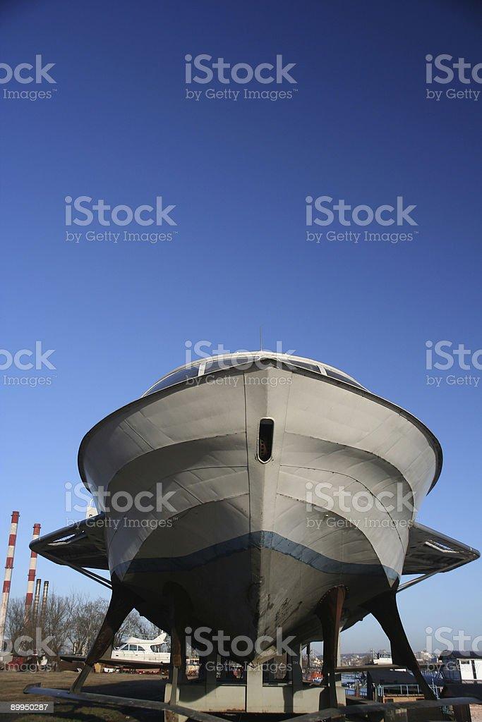 Yacht repair stock photo