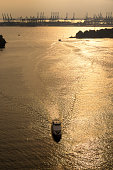 yacht sail in the sea from top view