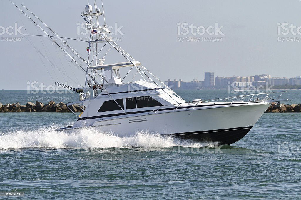 Yacht sailing on the Bay. stock photo