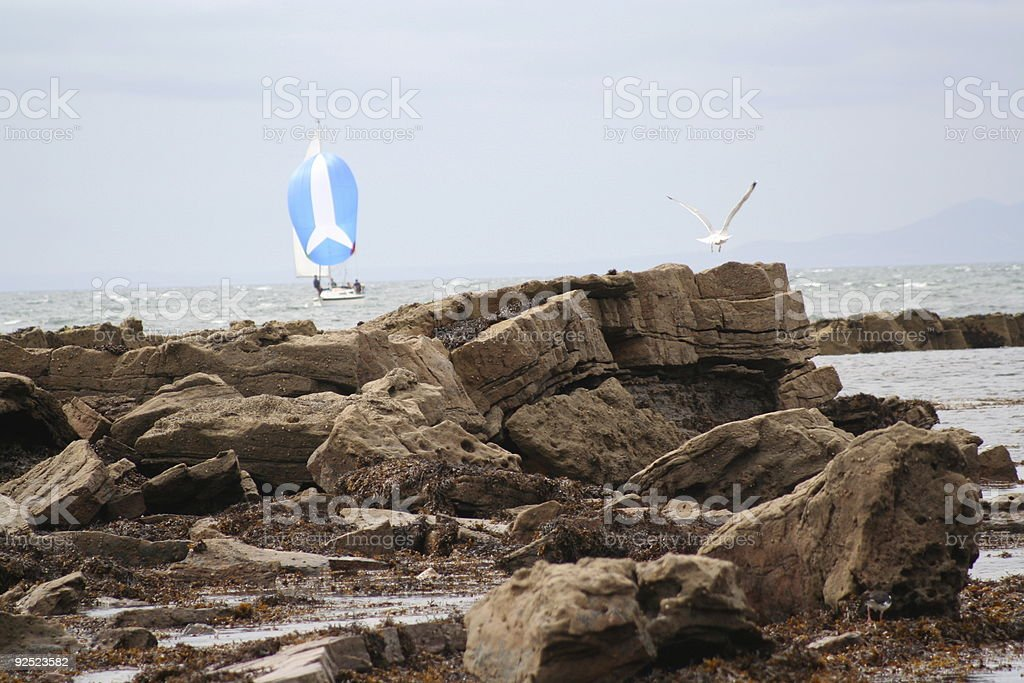 Yacht sailing with blue spinnaker in front of rocky shore royalty-free stock photo
