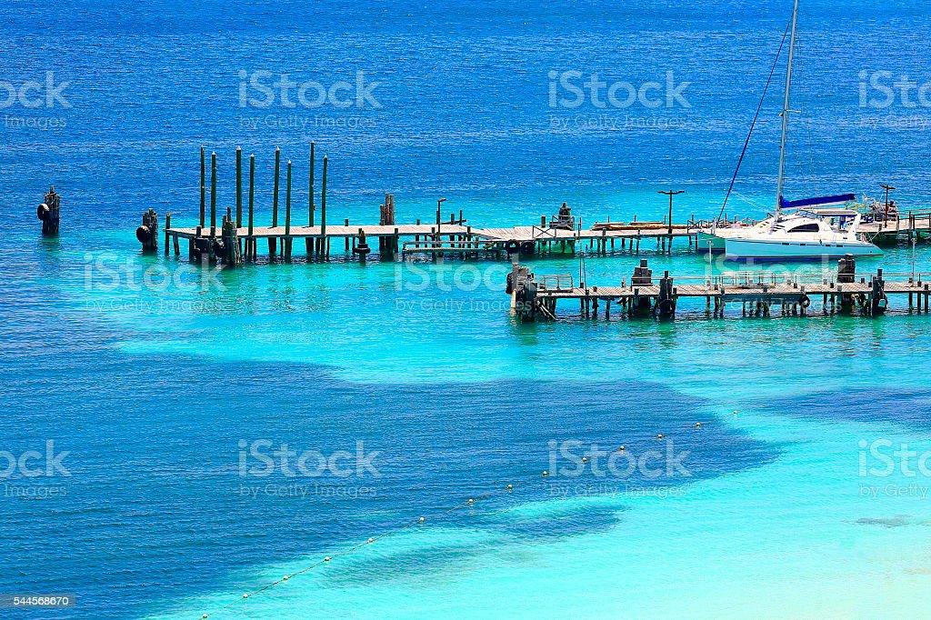 Yacht ship dock - idyllic shore - Cancun, Mexican caribbean stock photo