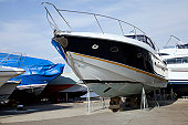 Yacht stored for the winter