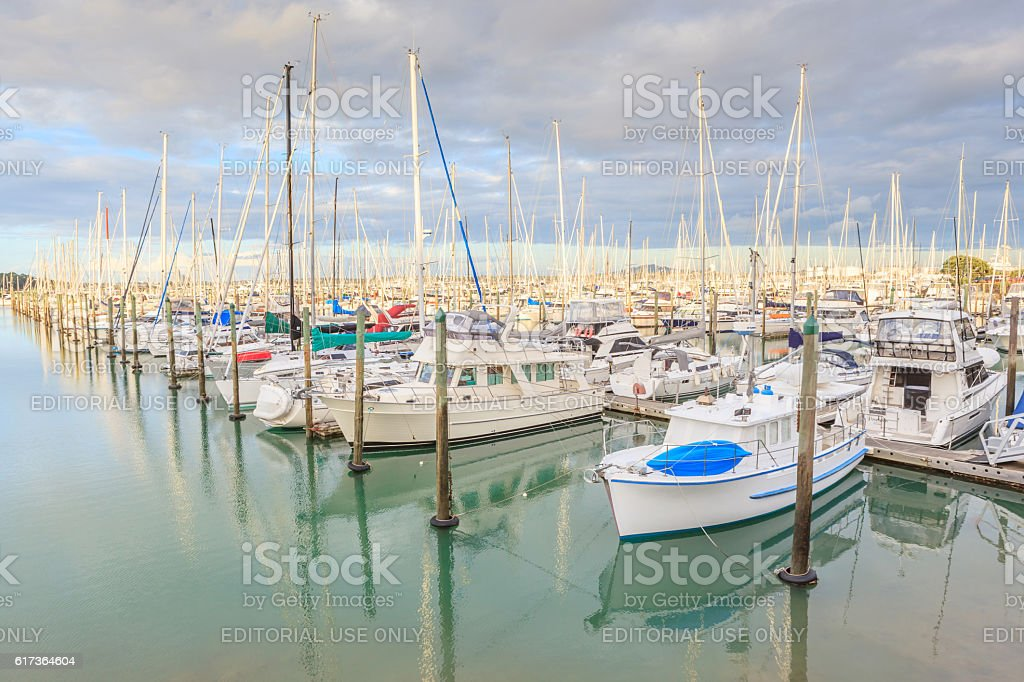 Auckland, New Zealand- December 9, 2013. Yacht tied. stock photo