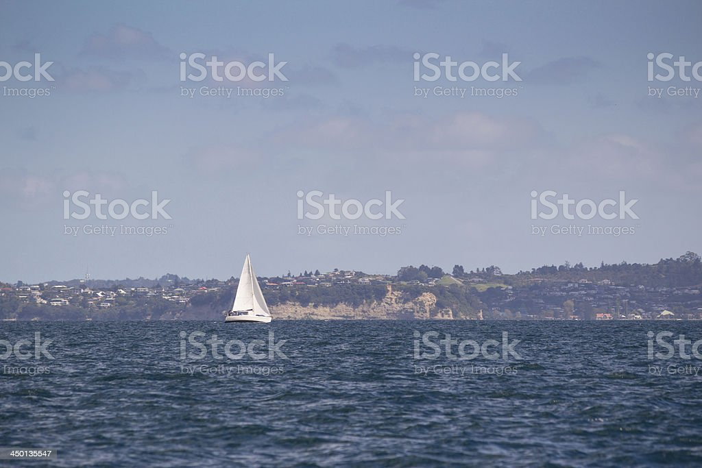 Yacht under sail stock photo
