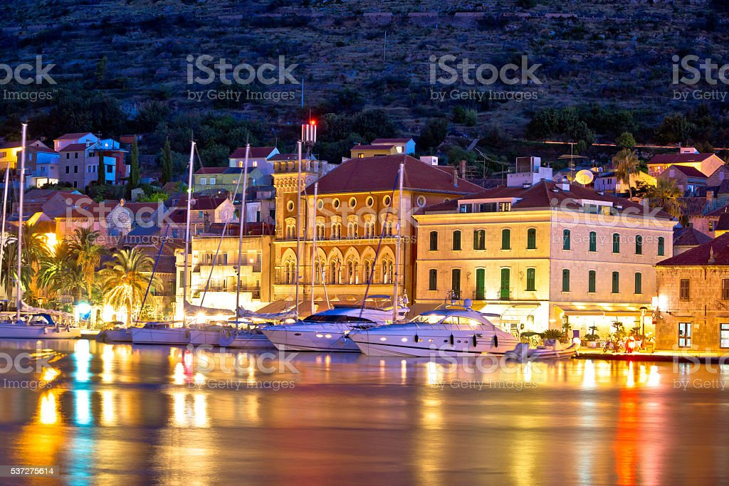 Yachting destination of Vis island evening view stock photo