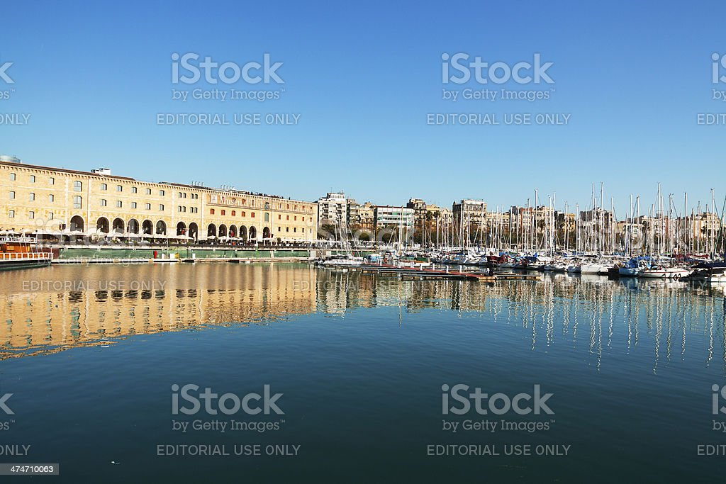 Yachting harbor and Catalonian Museum of History stock photo