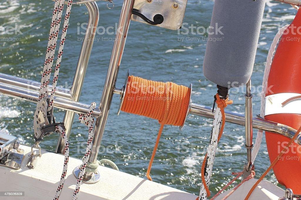 Yachting. Parts of yacht. Detail sailing boat royalty-free stock photo