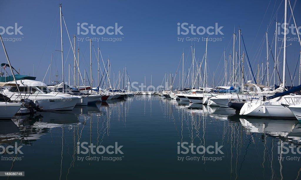 Yachts and Boats at Harbor stock photo