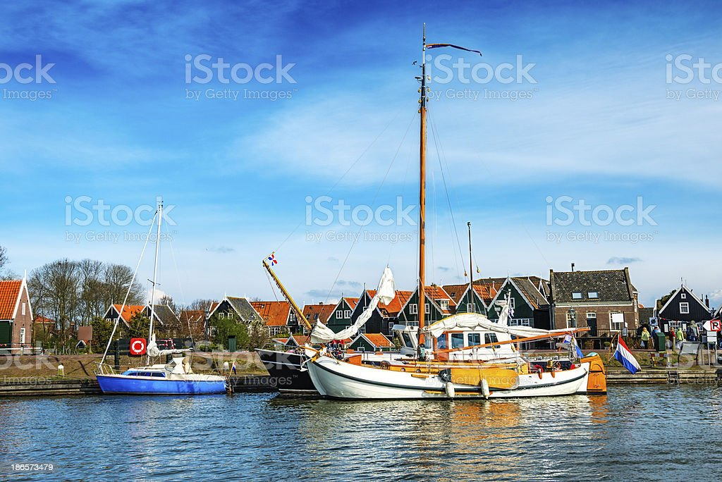Yachts and Boats at Marina in Netherlands royalty-free stock photo