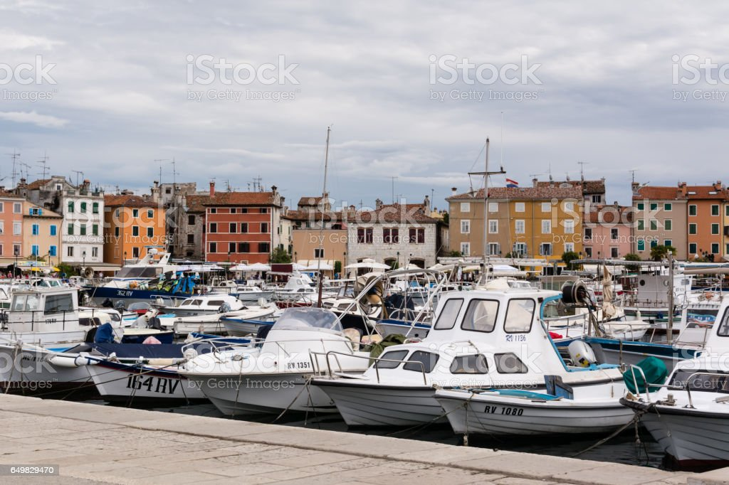 Yachts and boats in harbor stock photo