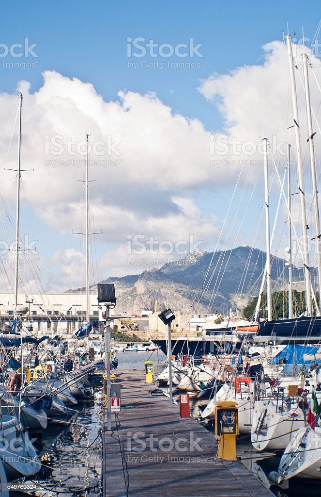 yachts and boats in old port in Palermo stock photo