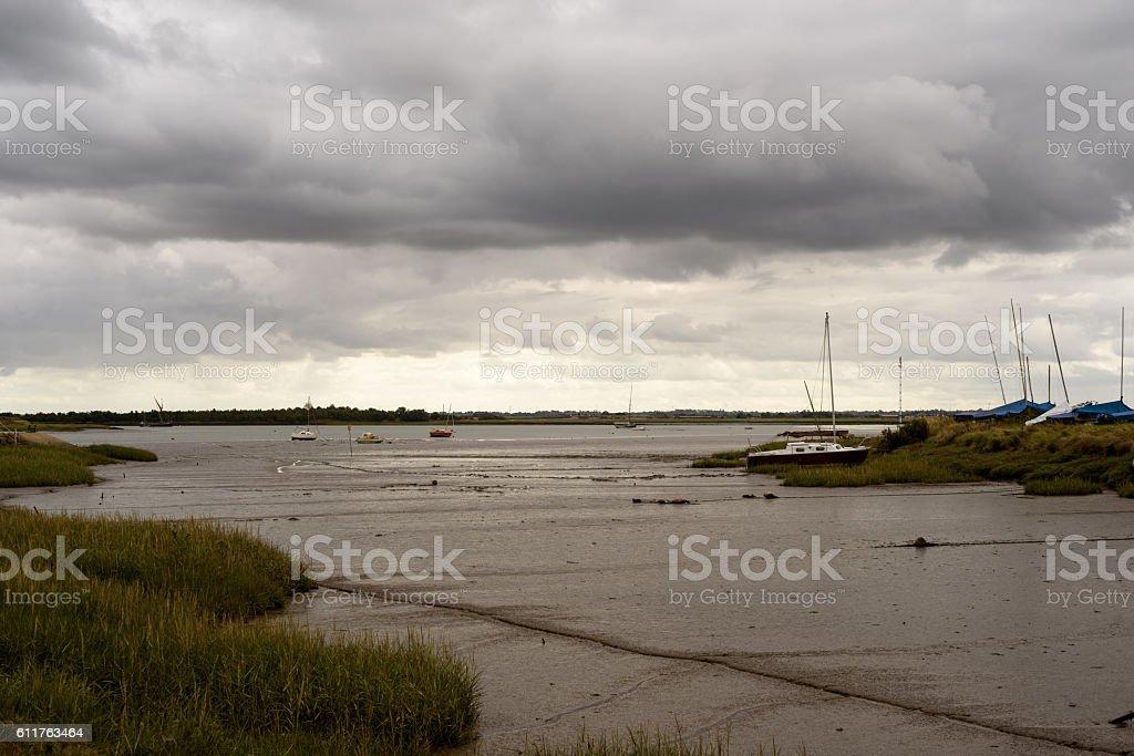 Yachts and Boats on Maldon Estuary stock photo