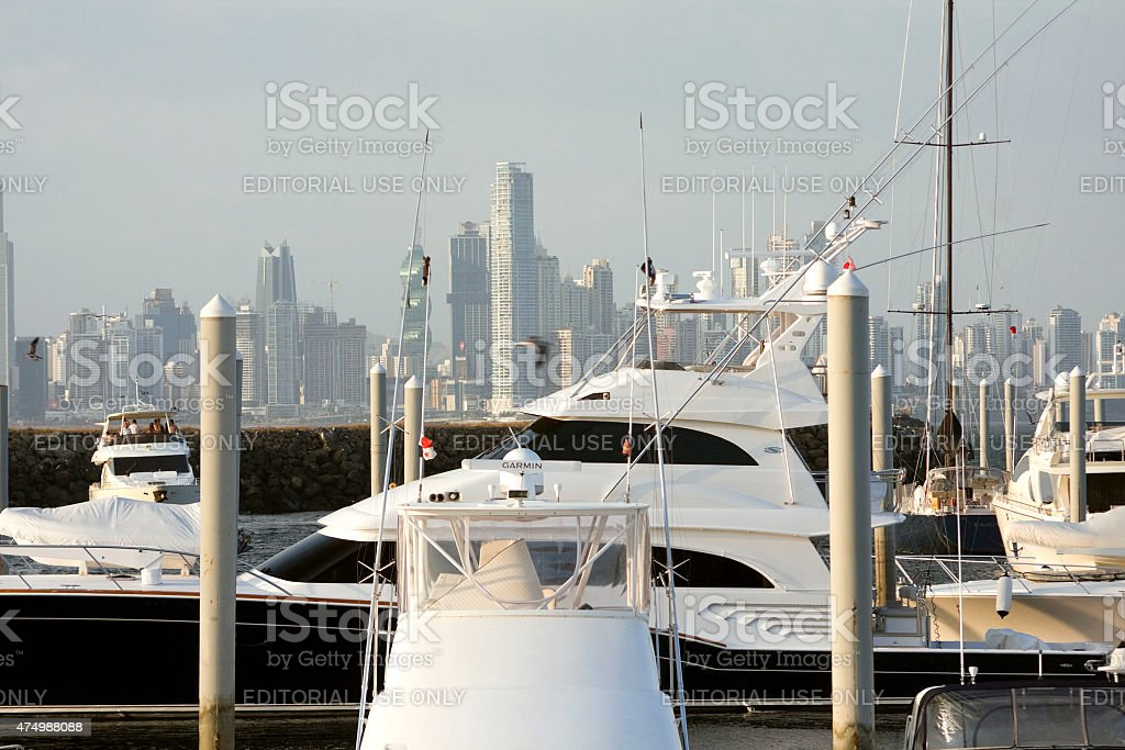 Yachts and marina in Panama City stock photo