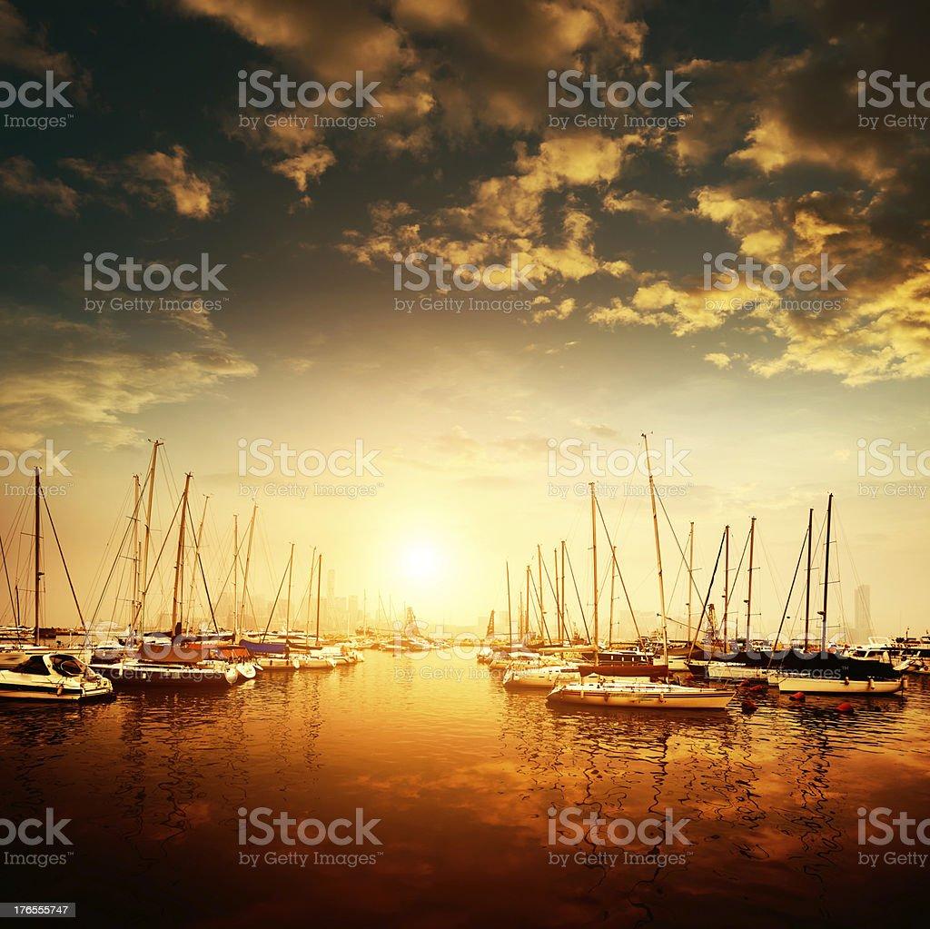 Yachts and marina royalty-free stock photo