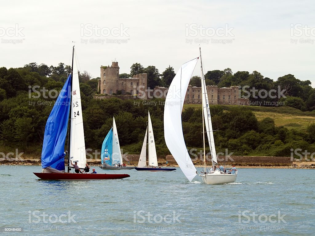 Yachts and Norris Castle stock photo