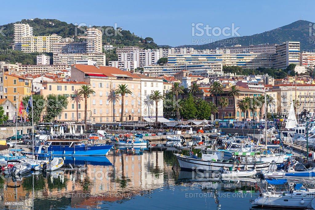 Yachts and pleasure boats in Ajaccio port stock photo