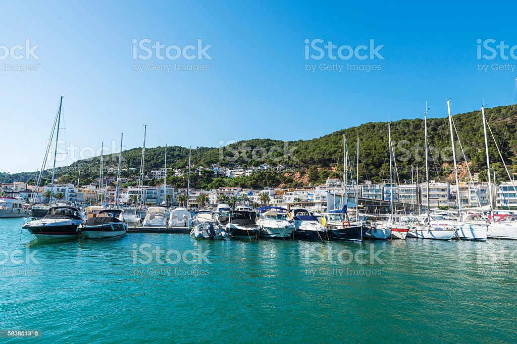 Yachts and sailboats docked at the marina, Spain stock photo