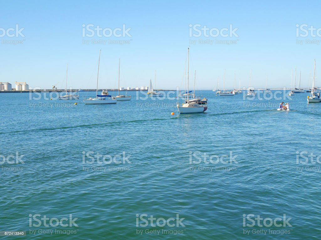 Yachts are moored stock photo