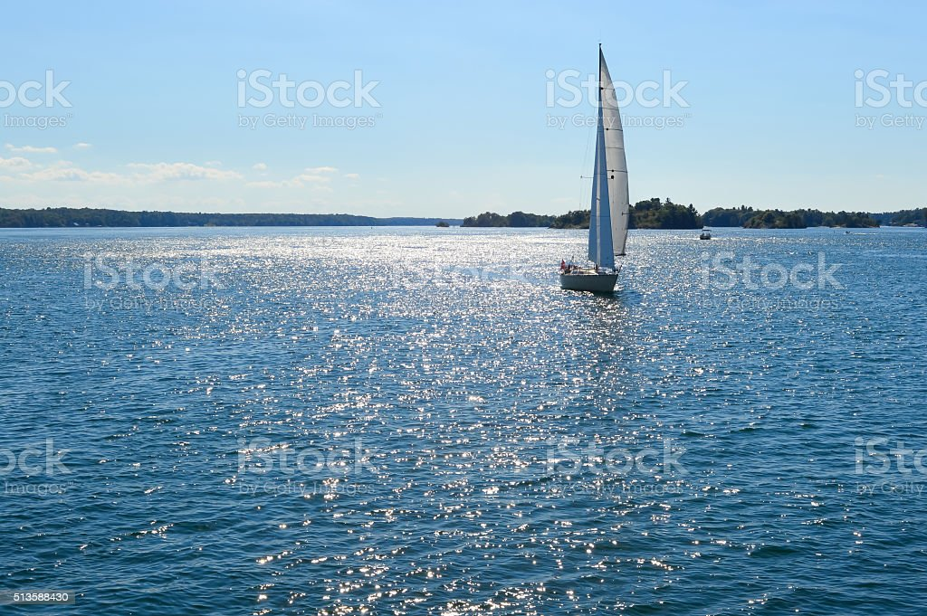 Yachts at 1000 Islands stock photo