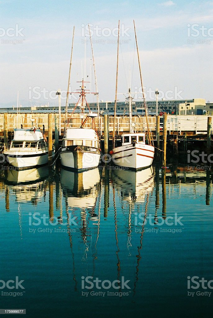 Yachts at Fisherman Wharf royalty-free stock photo