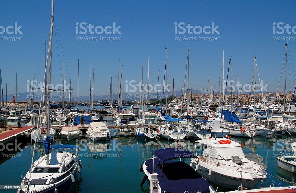 Yachts at harbor royalty-free stock photo