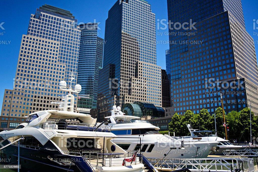 Yachts at North Cove Marina, Lower Manhattan, New York City stock photo