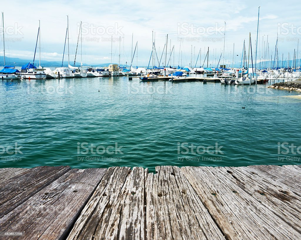Yachts at Ouchy port, Lausanne, Switzerland stock photo