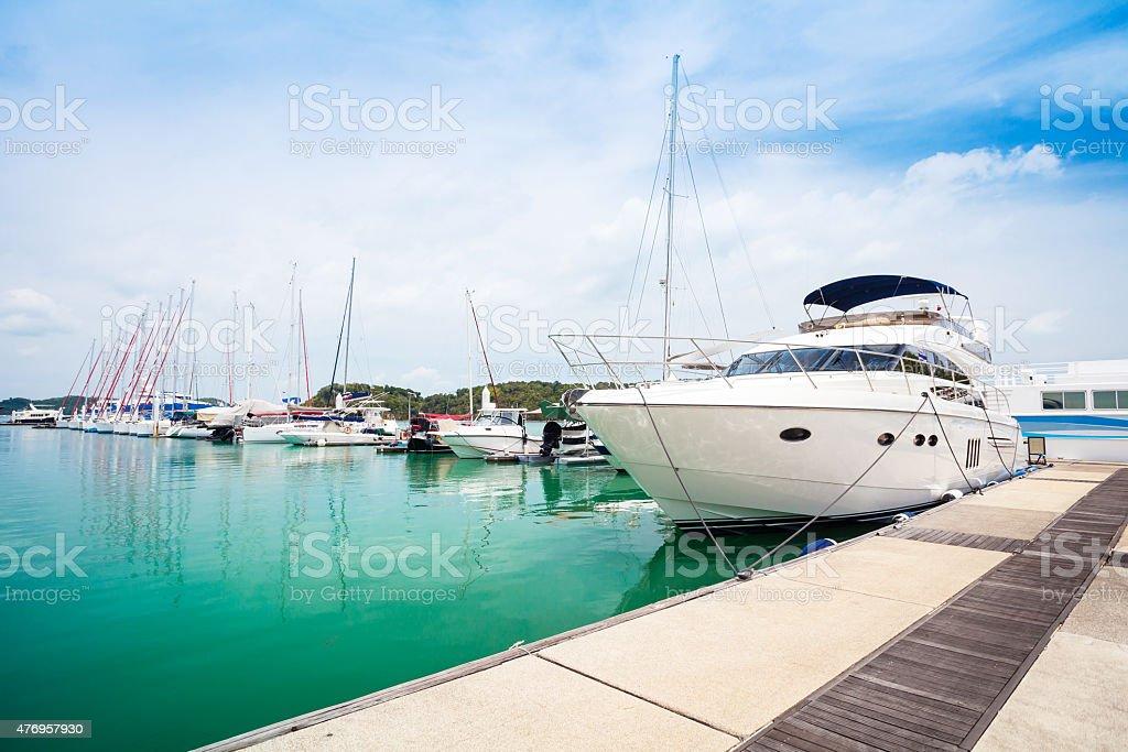 Yachts at Thailand Port stock photo