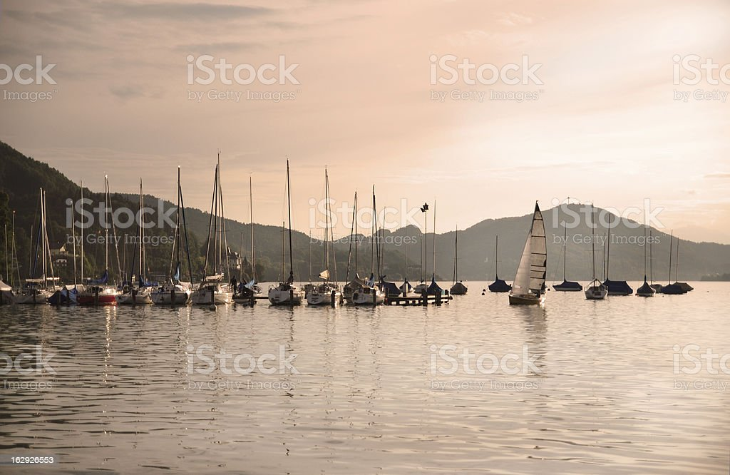 Yachts at the end of day royalty-free stock photo