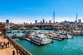 Yachts docked at Pier 39 Marina in San Francisco, California