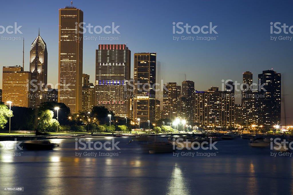 Yachts floating on Lake Michigan royalty-free stock photo