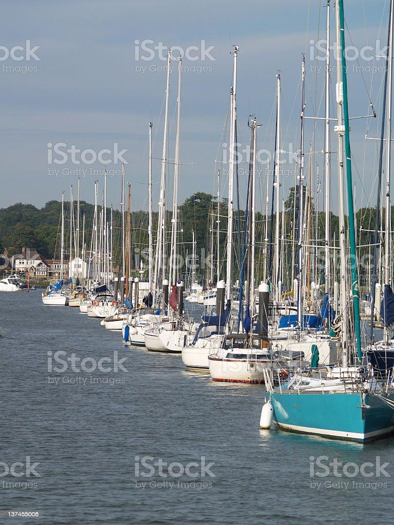 Yachts in a marina. stock photo